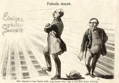 """Fabula docet (die Geschichte lehrt): """"Wer allzuviel in seine Tasche steckt, muss darauf sehen, daß er kein Loch hinein bekommt."""" Zeitgenössische Karikatur von Wilhelm Scholz aus dem Bismarck-Album der Zeitschrift Kladderadatsch (gemeinfrei). In der Mitte Bismarck, dem offensichtlich Luxembourg aus der Hosentasche gefallen ist und Napoleon III. der danach greift...."""