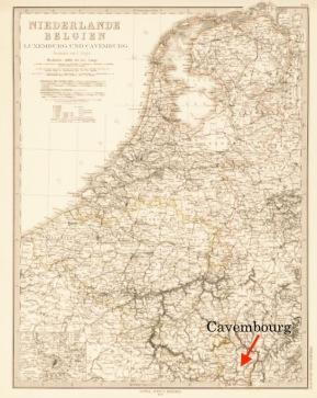 """In dem Kartenwerk """"Adolf Stiehler's Hand Atlas Über Alle Theile Der Erde Und über das Weltgebäude"""" von 1879 wurde Cavembourg erstmals auch kartographisch festgehalten. So findet man Cavembourg zusammen mit den Niederlanden, Belgien und Luxemburg auf Blatt 33."""